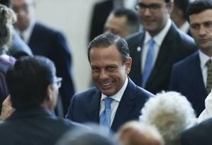 O governador João Doria, durante evento na Assembleia Legislativa, que aprovou extinção de três empresas públicas Foto: Edilson Dantas / Agência O Globo (01/01/2019)