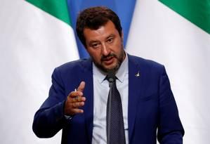Vice-primeiro-ministro da Itália, Matteo Salvini fala durante entrevista coletiva em Budapeste, na Hungria Foto: Bernadett Szabo 02-05-2019 / REUTERS