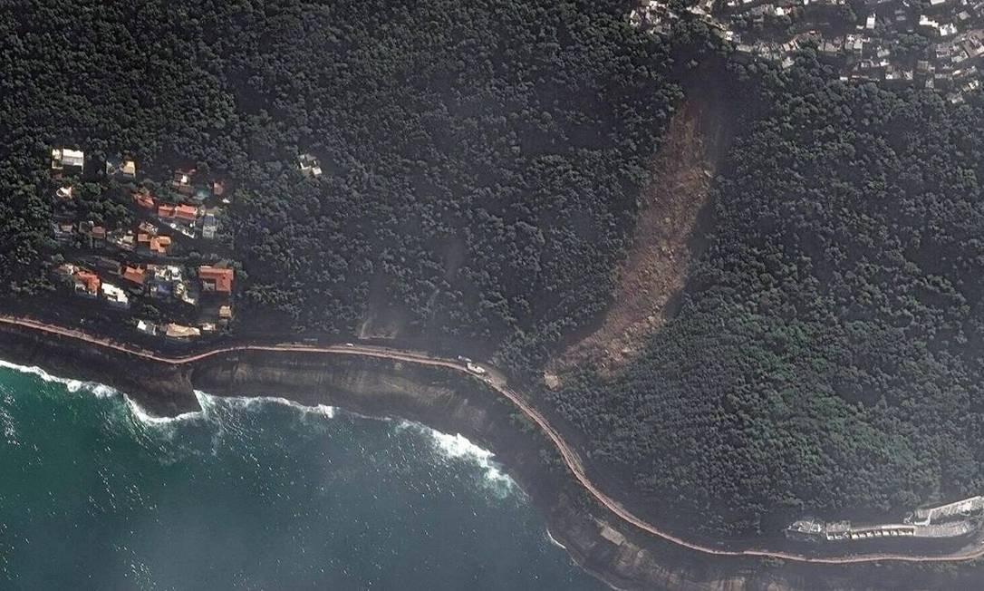 Imagens mostram alto do Vidigal antes e depois de deslizamentos causados por temporal