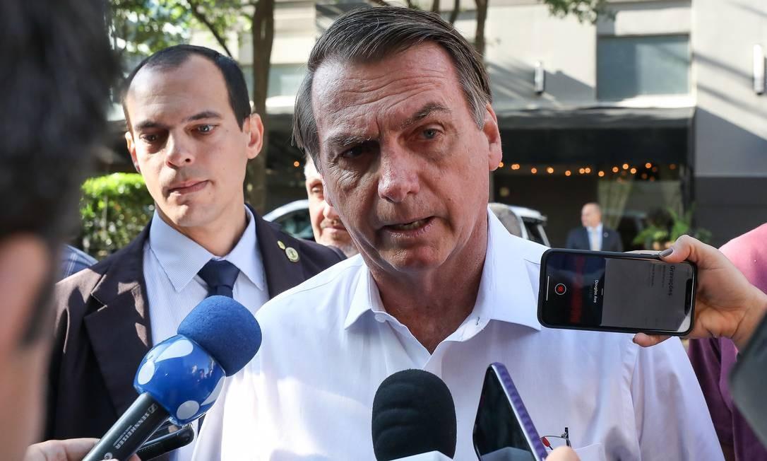 O presidente Jair Bolsonaro em coletiva de imprensa durante a viagem a Dallas, nos Estados Unidos Foto: PR