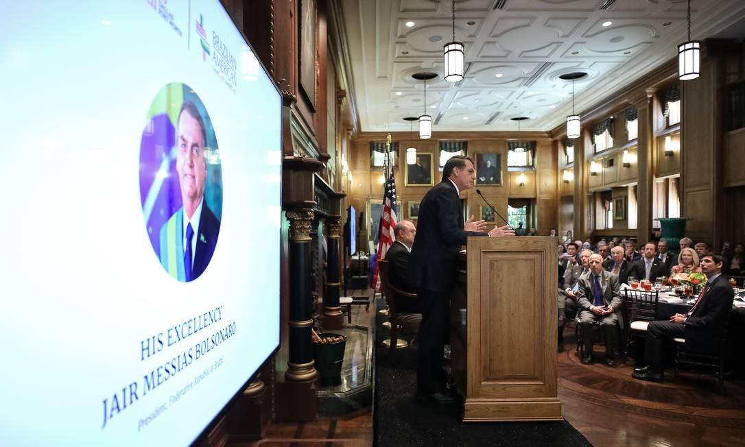 Em maio, Jair Bolsonaro discursa durante cerimônia de entrega do Prêmio Personalidade do Ano, concedido a ele pela Câmara de Comércio Brasil-Estados Unidos, em Dallas, no Texas - 16/05/2019 Foto: Marcos Corrêa / Presidência da República