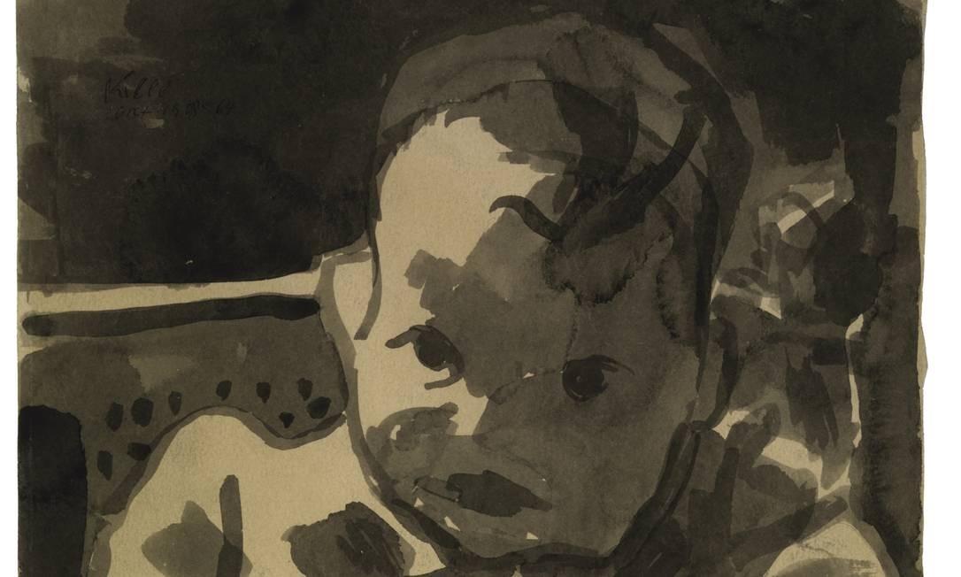 Sustentado pela mulher, Klee cuidava do pequeno Felix (e o pintava) Foto: Klee Paul