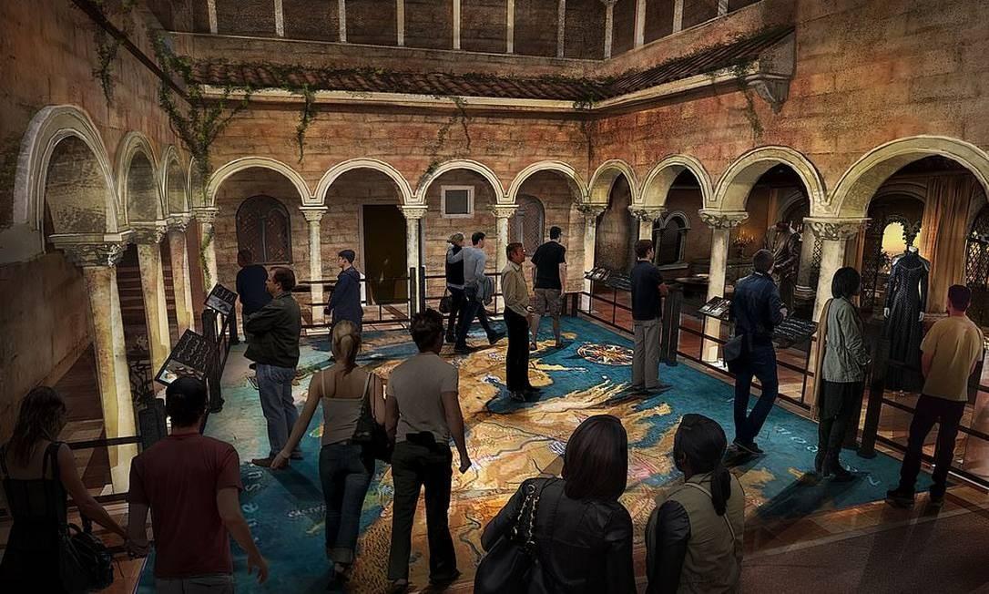 Aqui vemos o cenário do pátio interno da Fortaleza Vermelha, que tinha no chão o mapa de Westeros Foto: HBO / Divulgação