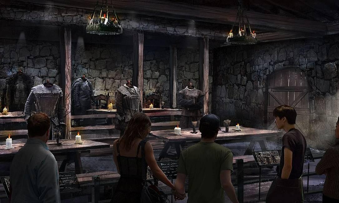 Nos espaços abertos ao público serão exibidos figurinos e acessórios, como armas, usadas em cena Foto: HBO / Divulgação
