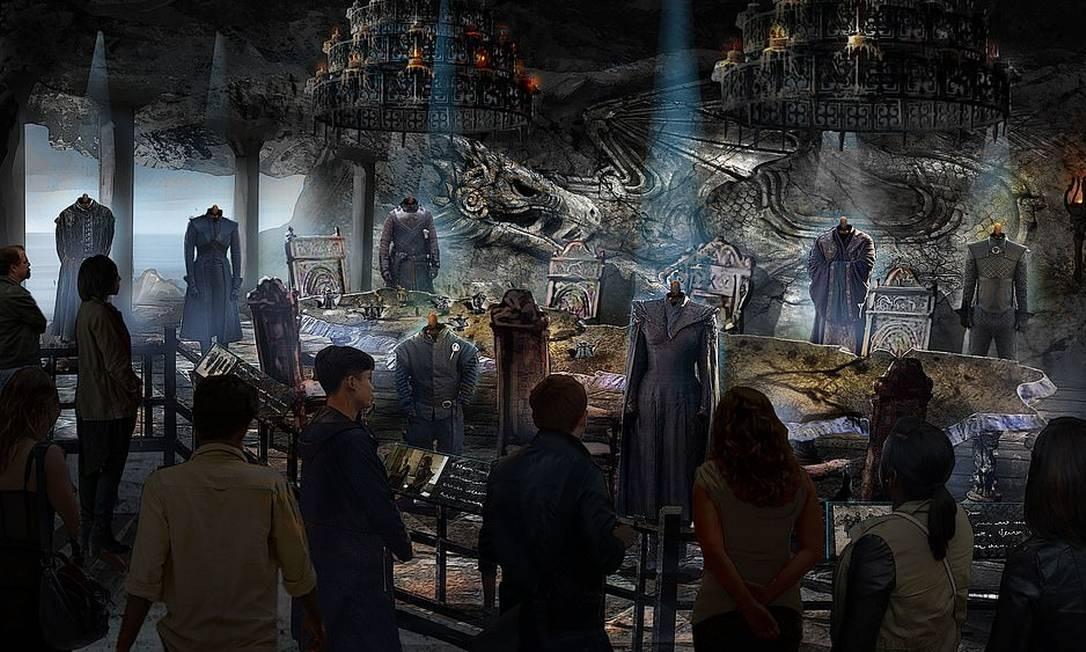 """Simulação mostra como será o cenário da sala de reuniões de Pedra do Dragão no tour inspirado em """"Game of thrones"""" do Linen Mill Studios, em Banbridge, na Irlanda do Norte Foto: HBO / Divulgação"""