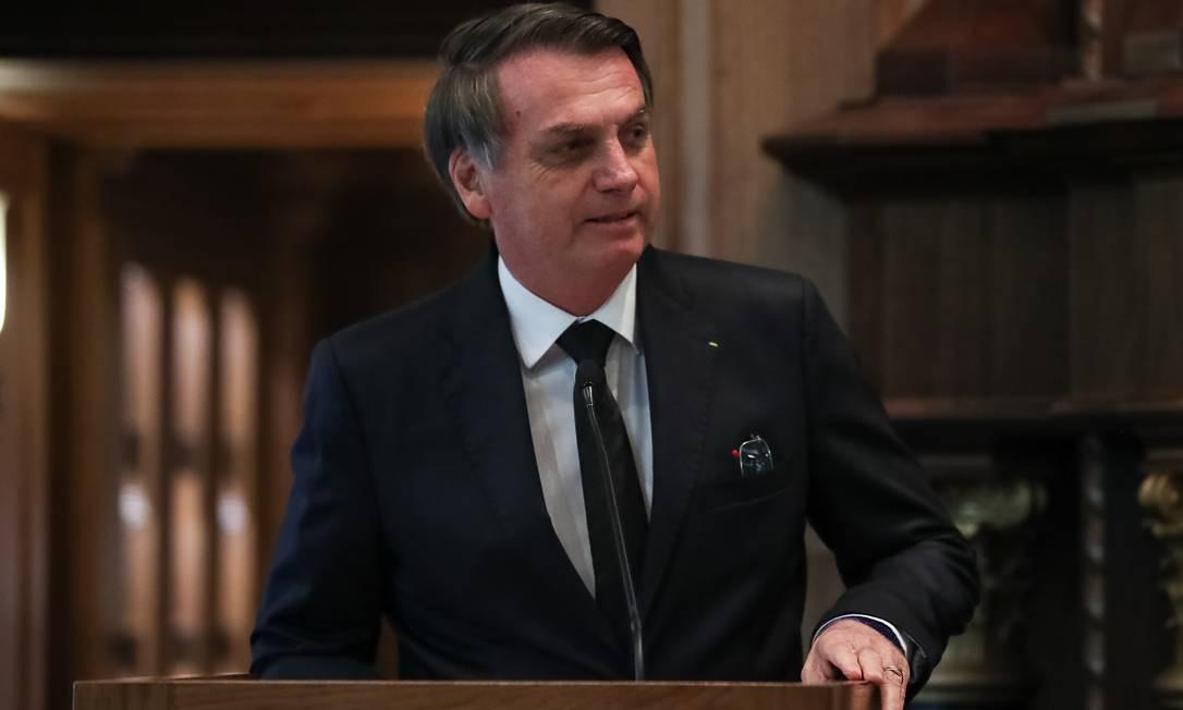 O presidente Jair Bolsonaro discursa no evento em que foi homenageado em Dallas, nos EUA, nesta quinta-feira Foto: Marcos Corrêa/PR / Presidência da República