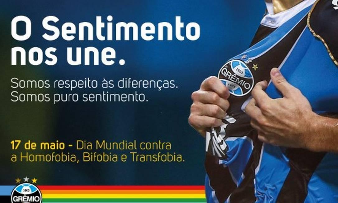 Grêmio apoia dia contra a LGBTfobia com mensagem de união nas redes Foto: Reprodução