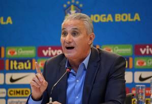 O técnico Tite durante a convocação da Seleção Brasileira para a Copa América Foto: SERGIO MORAES / REUTERS