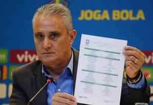 Tite mostra a lista de convocados para a Copa América Foto: SERGIO MORAES / REUTERS
