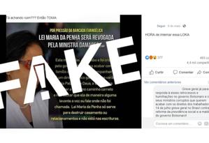 É #FAKE que Damares Alves defendeu revogação da Lei Maria da Penha Foto: Reprodução