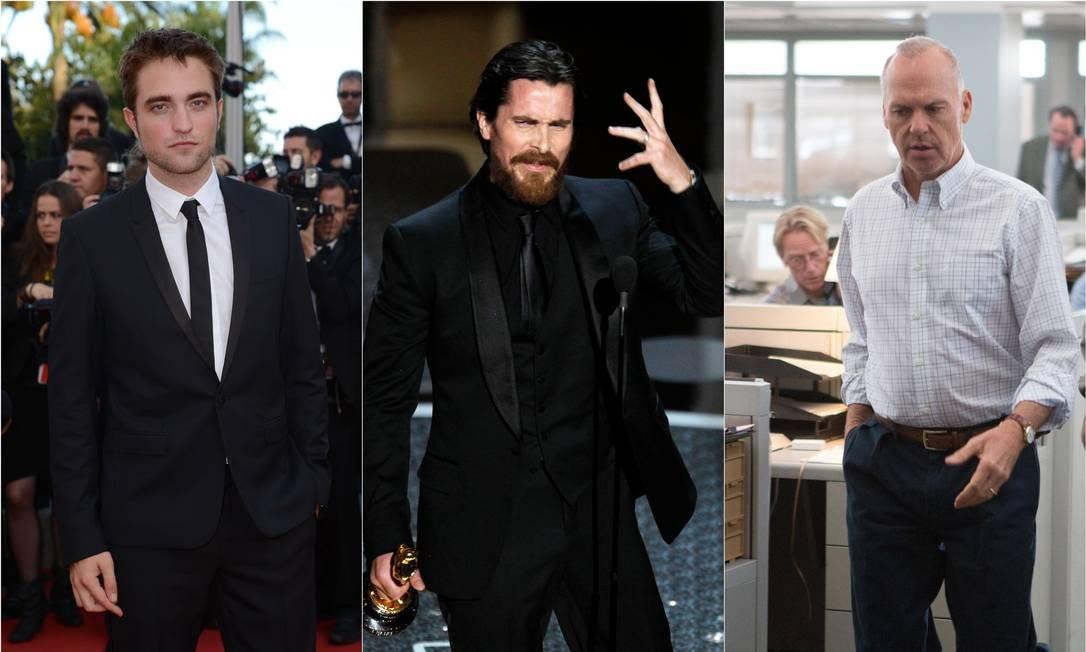Da esquerda para a direita, o provável novo Batman e os dois melhores até o momento: Robert Pattinson, Christian Bale e Michael Keaton Foto: AFP PHOTO / ANNE-CHRISTINE POUJOULAT; REUTERS/Gary Hershorn; Divulgação