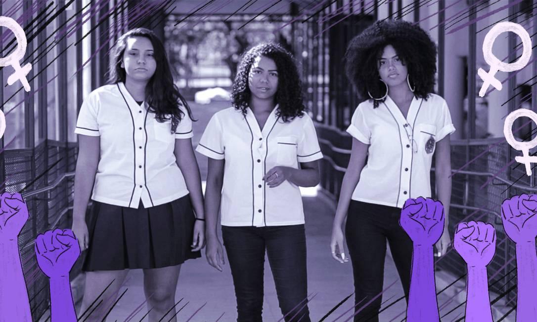 A partir da esquerda, Lauanny Brandão, Stephany Oliveira e Juliana Andrade: alunas do Colégio Pedro II, em São Cristóvão, criaram o Agbara, coletivo de mulheres negras Foto: Fernando Lemos