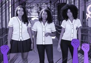 A partir da esquerda, Lauanny Brandão, Stephany Oliveira e Juliana Andrade: alunas do Colégio Pedro II, em São Cristóvão, criaram o Agbara, coletivo de mulheres negras Foto: Arte de Nina Millen sobre foto de Fernando Lemos