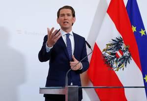 O chanceler a Áustria, Sebastian Kurz, anuncia que vai propor a realização de eleições antecipadas após a eclosão de escândalo envolvendo seu vice, , Heinz-Christian Strache Foto: LEONHARD FOEGER / LEONHARD FOEGER/REUTERS