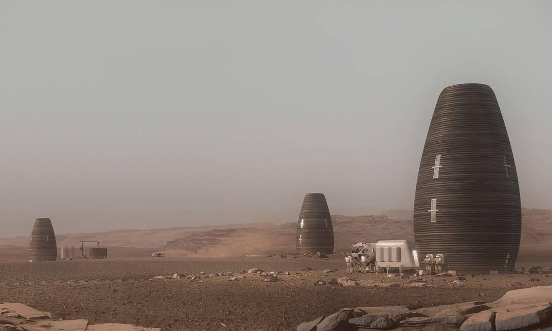 O projeto Marsha, da AI Space Factory, prevê a construção de casas em Marte a partir de impressão 3D. Foto: Divulgação