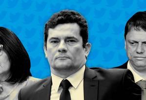 Os ministros Damares Alves, Sergio Moro e Tarcísio de Freitas Foto: Arte O GLOBO