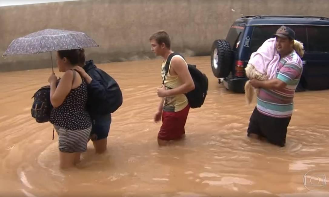 Chuvas fortes atingem Grande Vitória e causam alagamentos Foto: Reprodução / Jornal Nacional