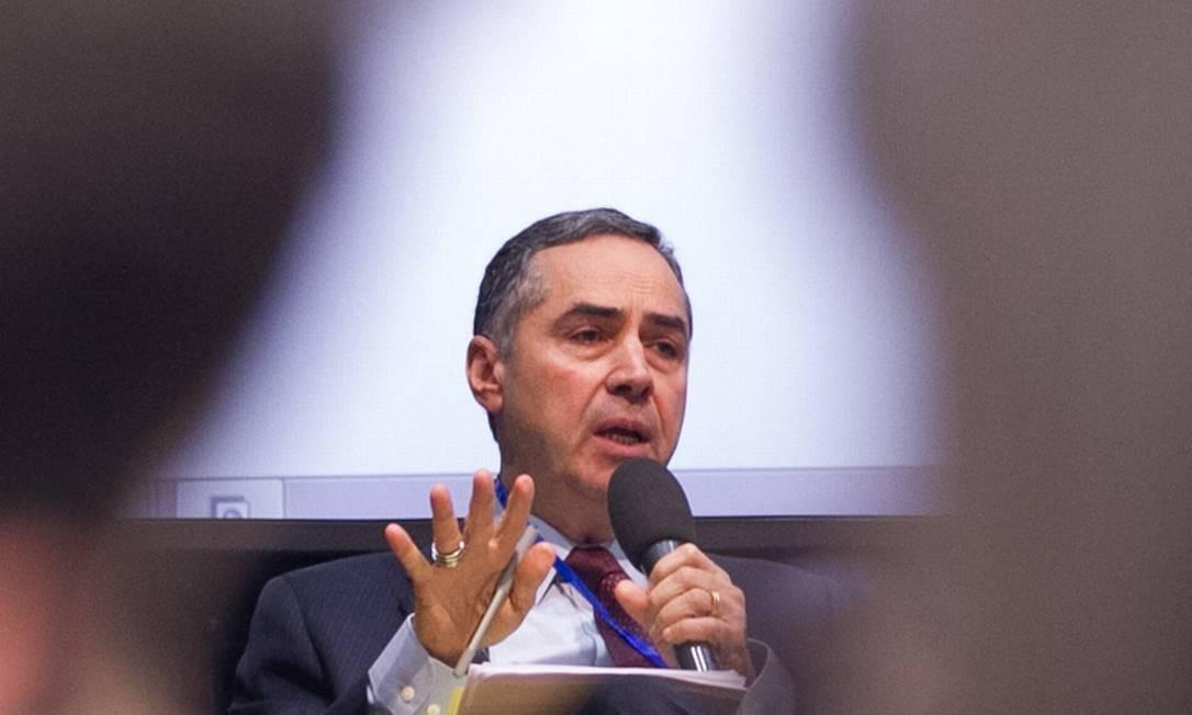 O ministro Barroso fala no Brazil Forum Foto: Cynthia Vanzella / Fórum Brazil UK / Divulgação