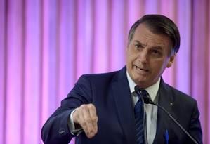 Bolsonaro durante discurso na sede da Firjan Foto: MAURO PIMENTEL / AFP