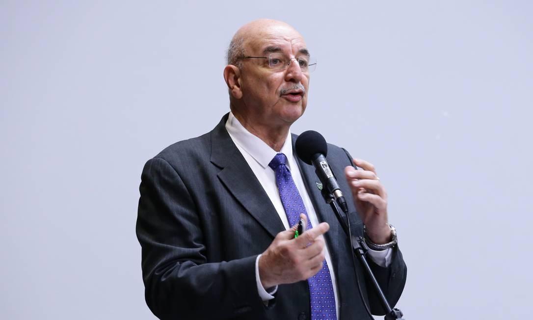 O ministro da Cidadania, Osmar Terra, durante seminário na Câmara Foto: Michel Jesus/ Câmara dos Deputados