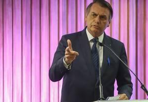 Bolsonaro durante evento na Federação das Indústrias do Estado do Rio de Janeiro. Foto: Marcelo Regua / Agência O Globo