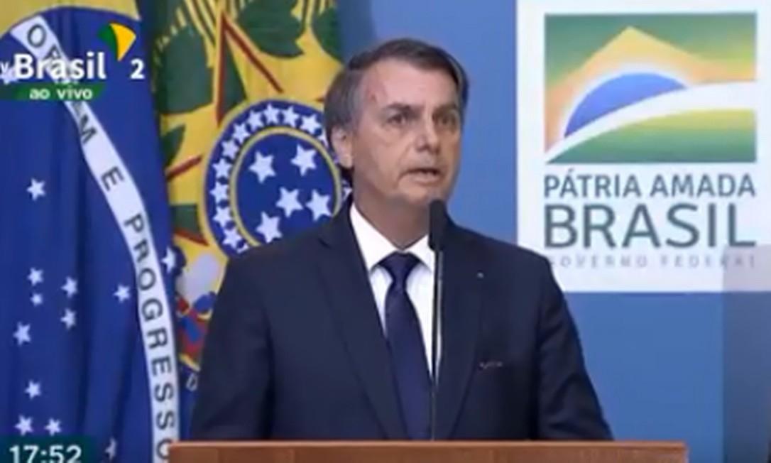 O presidente Jair Bolsonaro no lançamento da campanha de publicidade da reforma da Previdência Foto: Reprodução/ TV