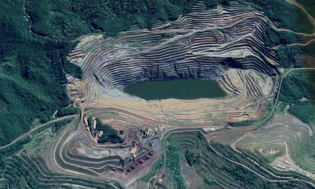 A mina de Gongo Soco, em Barão de Cocais, onde um talude pode se romper nos próximos dias Foto: Reprodução / Google Maps