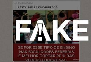 É #FAKE que foto mostra estudantes protestando em universidade Foto: Reprodução/Internet
