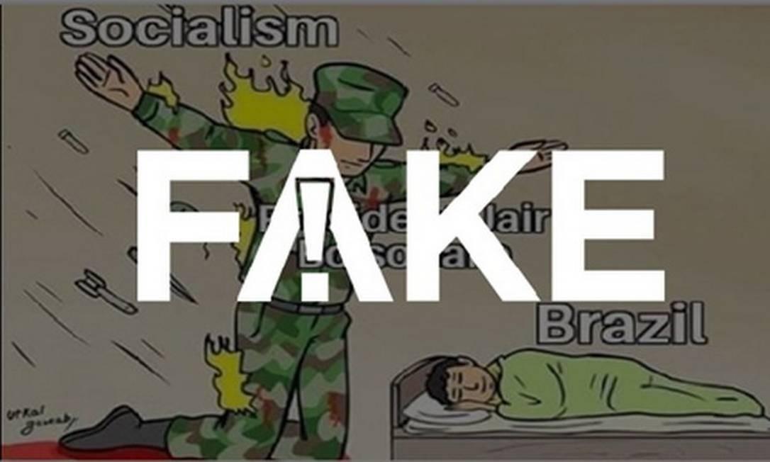 É #FAKE que revista Time publicou charge que mostra Bolsonaro como protetor do Brasil Foto: Reprodução
