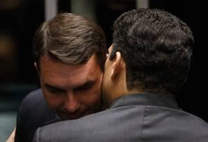 O senador Flávio Bolsonaro no Congresso 01/02/2019 Foto: Daniel Marenco / Agência O Globo