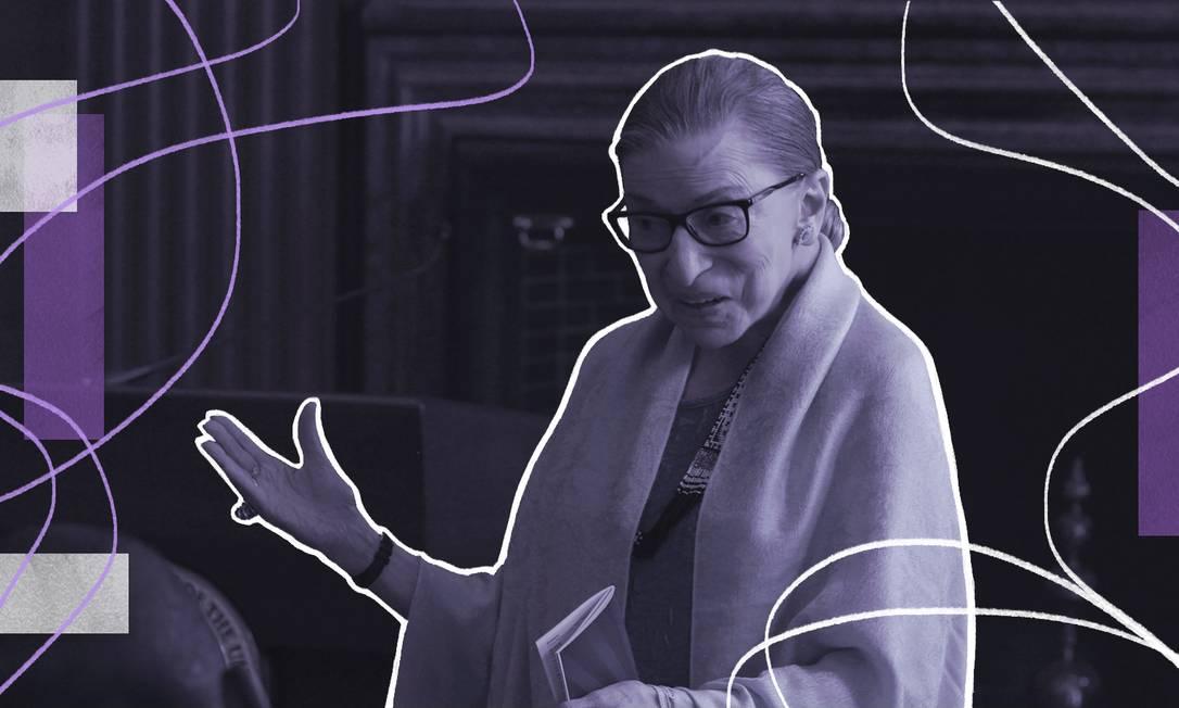 A juíza Ruth Bader Ginsburg foi a segunda mulher a ocupar uma vaga na Suprema Corte americana, indicada por Bill Clinton, e hoje é uma diva das novas gerações Foto: Arte de Nina Millen sobre foto de divulgação
