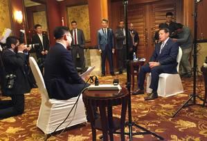 Vice-presidente do Brasil Hamilton Mourão durante entrevista ao canal estatal chinês CGTN Foto: Reprodução