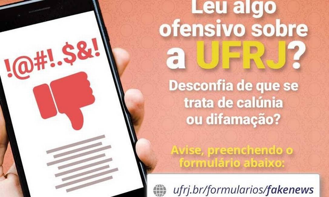 Publicação postada nas redes por uma das unidades da UFRJ Foto: Reprodução Facebook