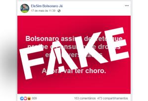 É #FAKE que Bolsonaro publicou decreto proibindo consumo de drogas em universidades Foto: Reprodução