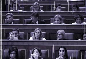 Deputadas na posse da nova legislatura do Parlamento espanhol Foto: Arte de Nina Millen Leal sobre foto de Sérgio Perez, da Reuters
