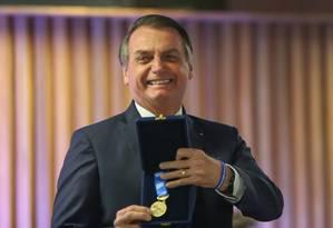 Presidente da República, Jair Bolsonaro, participou da Cerimônia de Entrega da Medalha do Mérito Industrial do Estado do Rio de Janeiro, na sede da FIRJAN 20/05/2019 Foto: Marcelo Regua / Agência O Globo