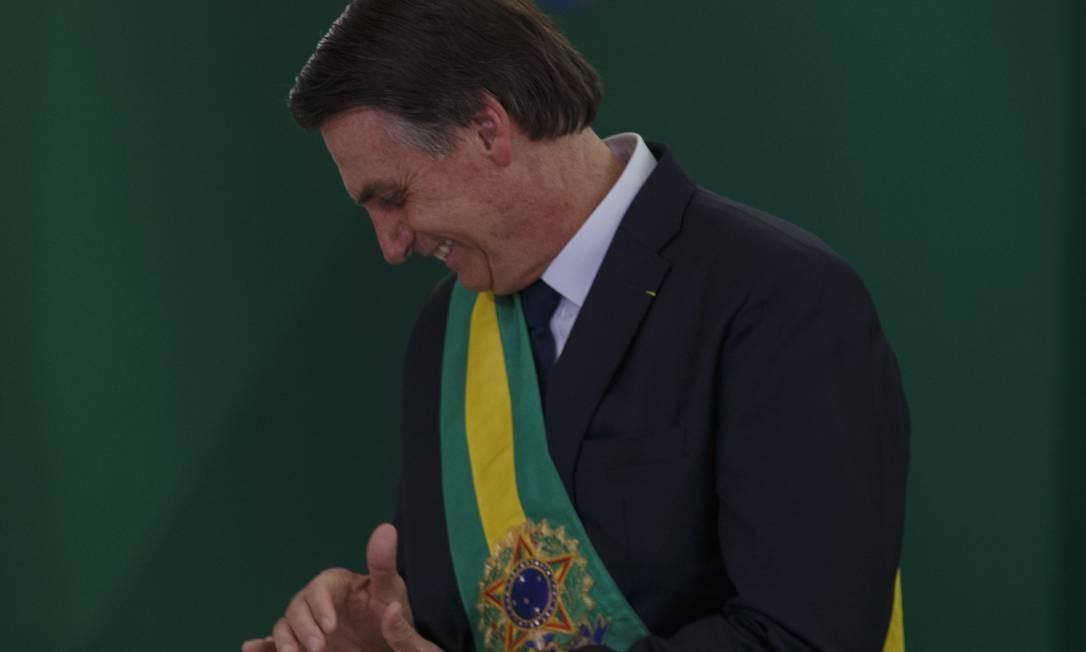 O presidente Jair Bolsonaro, em sua posse Foto: Daniel Marenco / Agência O Globo