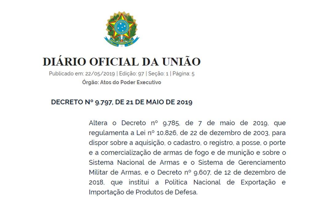 Novo decreto das armas publicado no Diário Oficial da União Foto: Reprodução