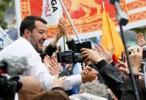 Matteo Salvini, vice-premier italiano, em comício que antecede o pleito europeu Foto: Alessandro Garofalo / REUTERS