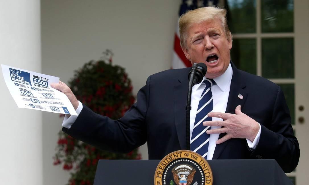 Presidente dos EUA, Donald Trump, fala sobre investigação de Robert Mueller no jardim da Casa Branca Foto: LEAH MILLIS / REUTERS