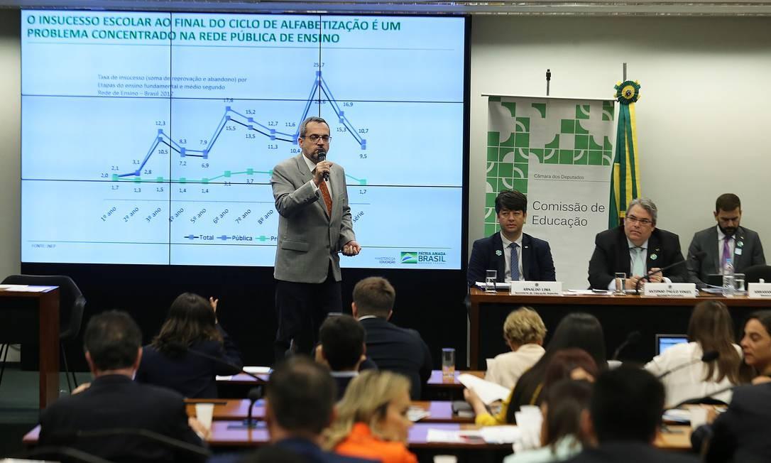 Ministro da Educação, Abraham Weintraub, explica as diretrizes da pasta na Câmara Foto: Jorge William / Agência O Globo