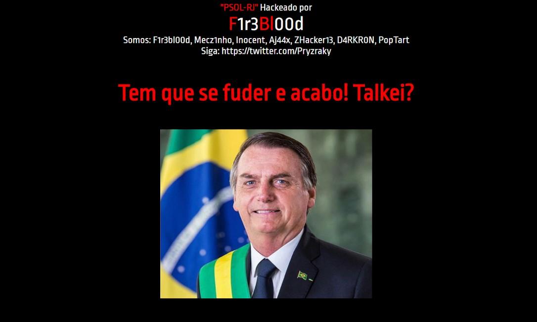 Foto do presidente é colocada em site hackeado do PSOL Rio Foto: Reprodução