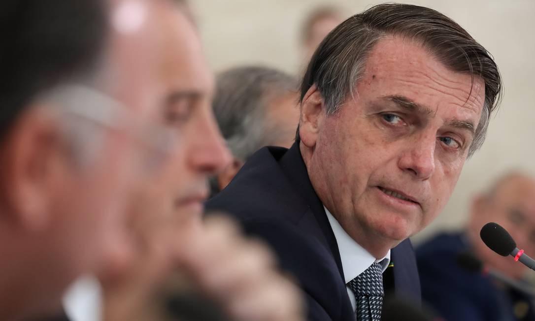 O presidente Jair Bolsonaro durante reunião no Palácio do Planalto Foto: Marcos Corrêa/PR