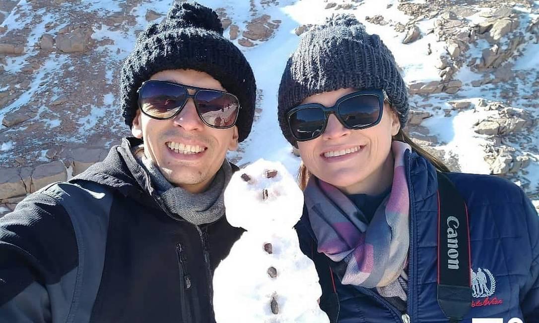 Jonathas e Adriane durante viagem para o Chile Foto: Reprodução/Instagram
