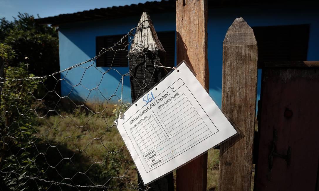 Nas portas das casas, há placas informando a data da última vistoria (a maioria em 25 de fevereiro), bem como o nome do proprietário de cada casa e os bichos que foram retirados delas (cachorros, gatos, pássaros e até cavalos) Foto: Pablo Jacob / Agência O Globo