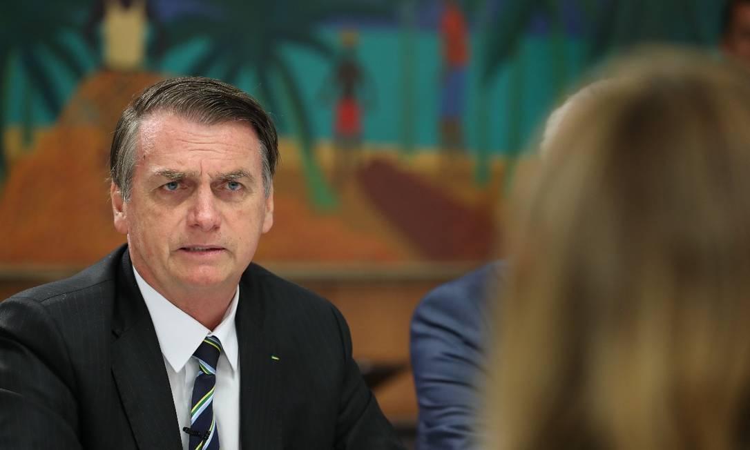 O presidente Jair Bolsonaro (PSL) durante o café da manhã com jornalistas, no Palácio do Planalto Foto: Marcos Corrêa / PR