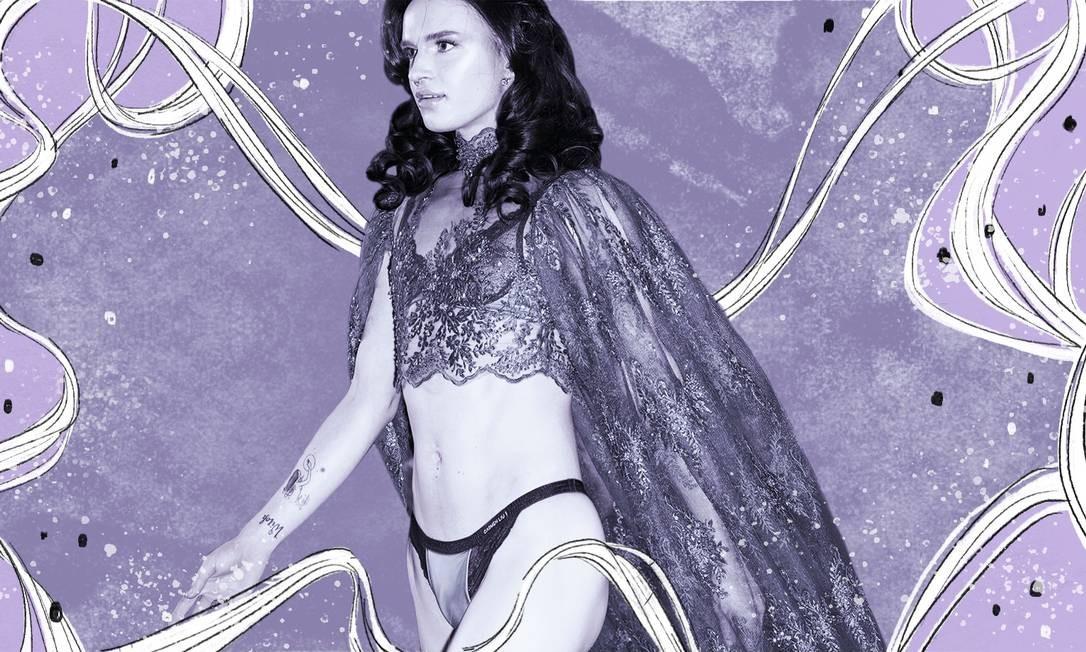 Uma modelo apresenta lingerie em desfile da marca Carmen Liu, em Londres Foto: ANA CUBA/NYT