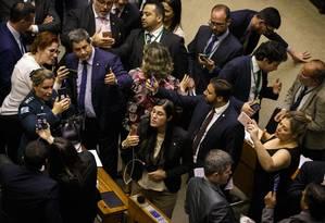 Deputados do PSL fazem lives sobre votação de destaque que reitrou Coaf do Ministério da Justiça Foto: Daniel Marenco / Agência O Globo 22-05-2019