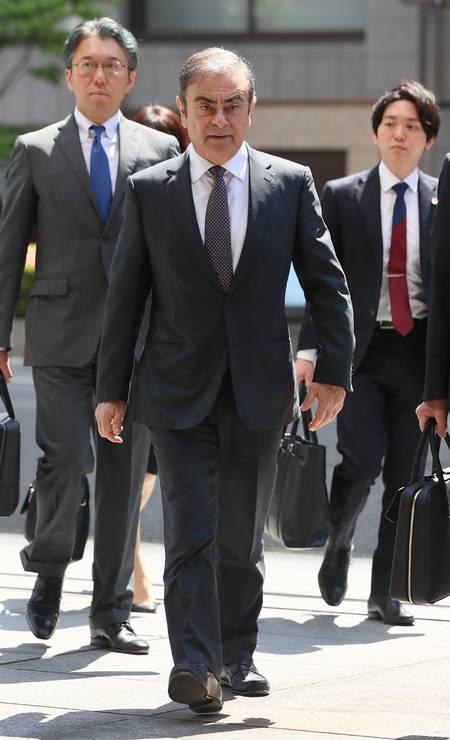 O ex-presidente da Nissan Motor, Carlos Ghosn, chega ao Tribunal Distrital de Tóquio. Foto: JIJI PRESS / AFP