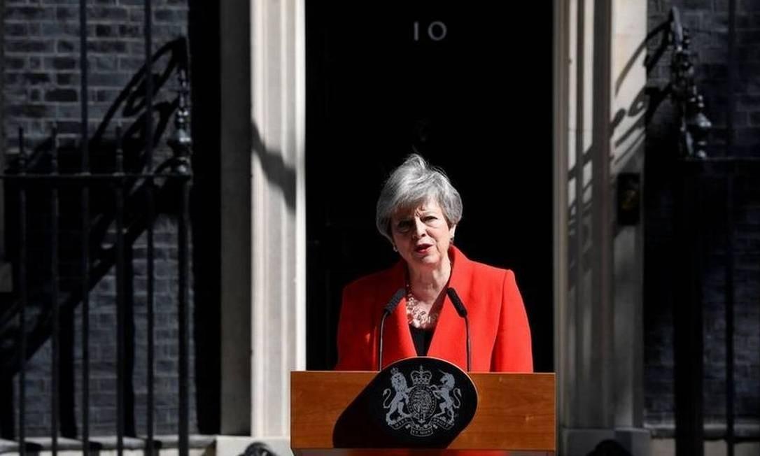 Primeira-ministra britânica Theresa May faz uma declaração em Londres Foto: Reuters